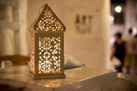 Decorative lantern illuminates a corner