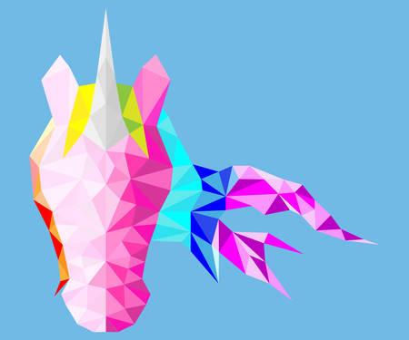 Magic low poly unicorn with rainbow mane