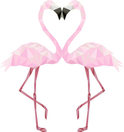 Couple of pink low poly flamingos in love kissing Ilustração