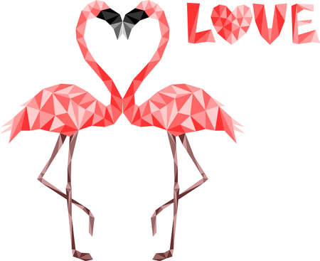Couple of pink low poly flamingos in love kissing Ilustrace