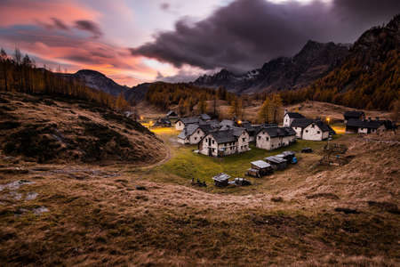 During the autumn time the cute village of Crampiolo Banco de Imagens