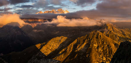 Monte Rosa in the western Alps. Panoramic view of the most important mountain in Europe