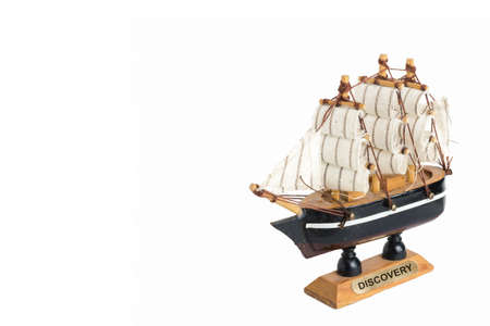 old ship: Old wooden ship model on white isolated background