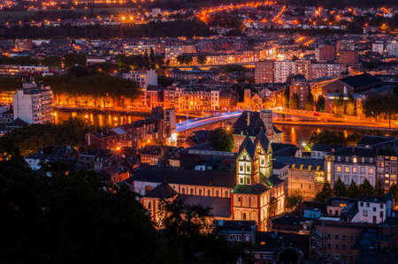 liege: Liege By Night, Belgium Stock Photo