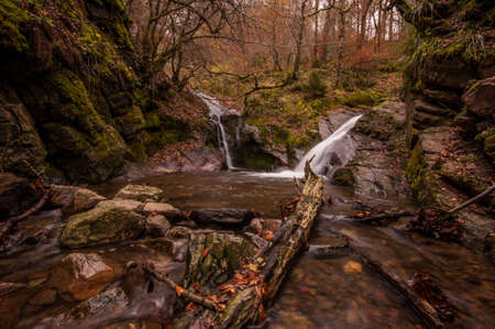 wallonie: Autumn at Ninlangspo Waterfalls in Belgium Stock Photo