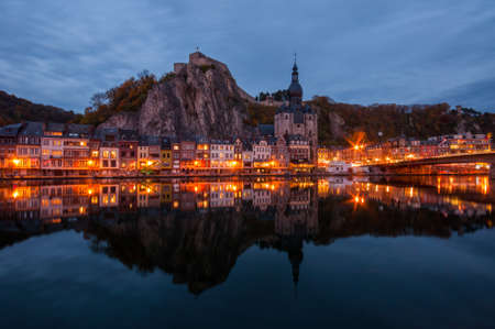 wallonie: Cityscape of Dinant, Belgium by Night Stock Photo