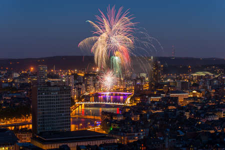 Fireworks in Liege Stock Photo