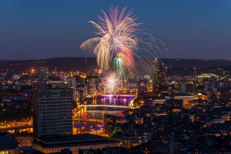 wallonie: Fireworks in Liege Stock Photo
