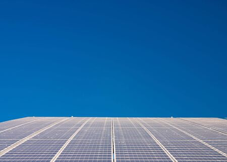 Close up of solar cells in a large scale power plant