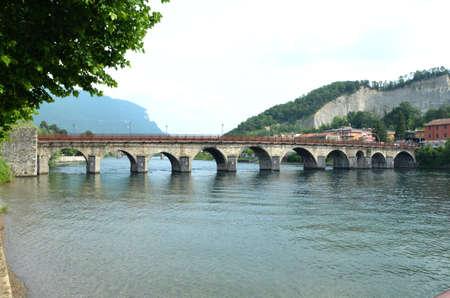 ponte vecchio: Ponte Vecchio in Lecco Stock Photo