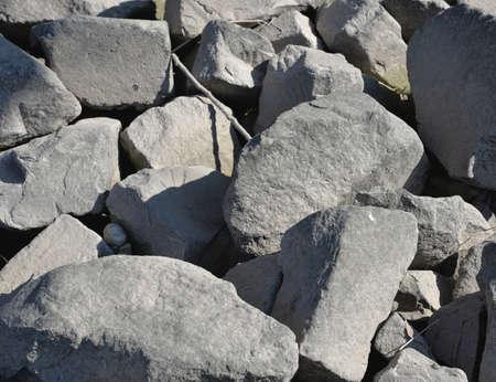 karlsruhe: Stones on the Rhine dam near Karlsruhe