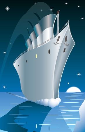 sea disaster: Titanics last moments. Illustration