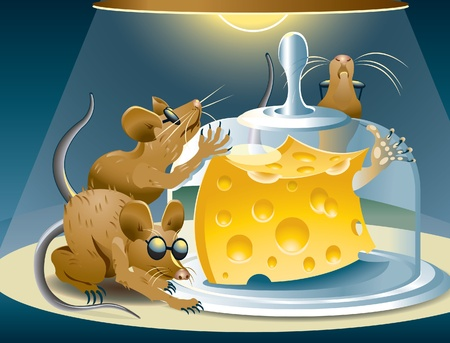 Three blind mice that will never get the cheese. Ilustracja