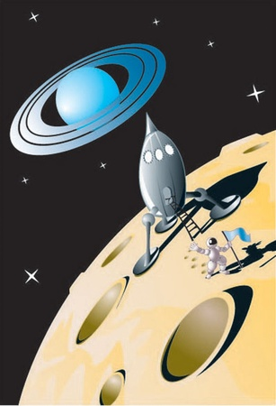 saturn rings: A brave explorer lands on a distant moon.