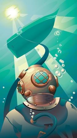 Deep Sea Diver Stock Vector - 9931864