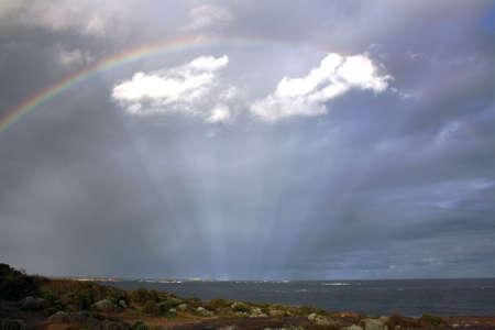 light display: Rainbow over light display