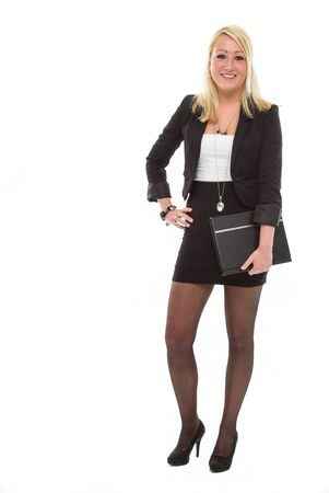 Pretty smiling business woman, with portfolio in het hand Stock Photo - 12990865