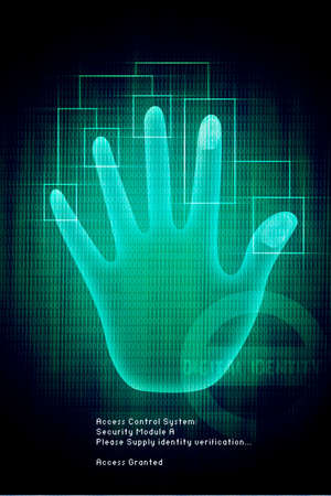 verifying: Vector digital Scan of Hand verification on background, illustration  Stock Photo