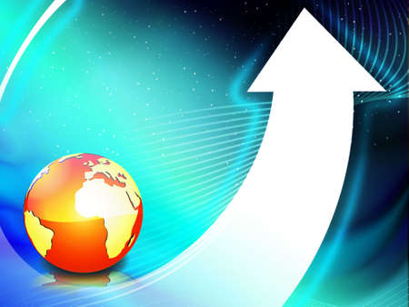 globe floating on the arrow in the sky vector background, wallpaper Stock Photo - 2191913