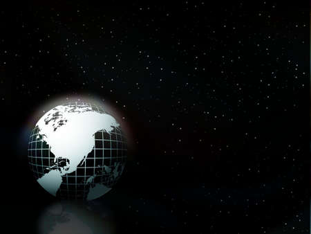 globe floating on the sky vector background in the night, illustration illustration