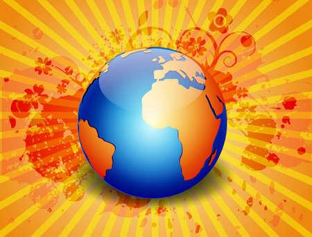 grunge vector globe yellow abstract background, illustration illustration
