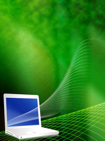 lap top: Lap top in cyber effect vector illustration background in green