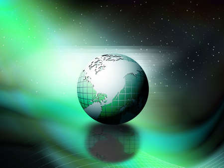 stars and waves around the globe theme, vectore wallpaper