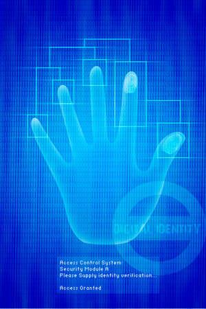 Vector digital Scan of Hand verification on background, illustration Stock Illustration - 2191950