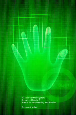 Vector digital Scan of Hand verification on green background, illustration  Stock Illustration - 2191951