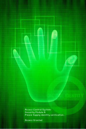 verifying: Vector digital Scan of Hand verification on green background, illustration