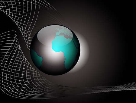 world wide: Vector illustration black abstract background with globe