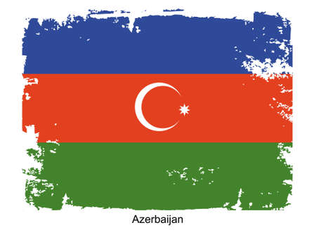 azerbaijani: Grunge illustration of the flag of the country. Fully editable vector image. Grunge flag is proportionately correct.