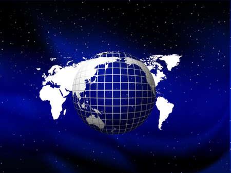 Blue globe floating on the sky vector background with stars, illustration Stock Illustration - 2201704