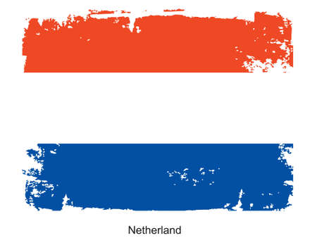 nederland: Grunge illustration of the flag of the country. Fully editable vector image. Grunge flag is proportionately correct.