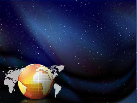globe floating on the blue sky vector background, illustration  illustration