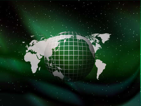 world wide: globe floating on the sky green vector background with stars, wallpaper  Stock Photo