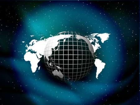 globe floating on the sky vector background with stars, illustration  illustration