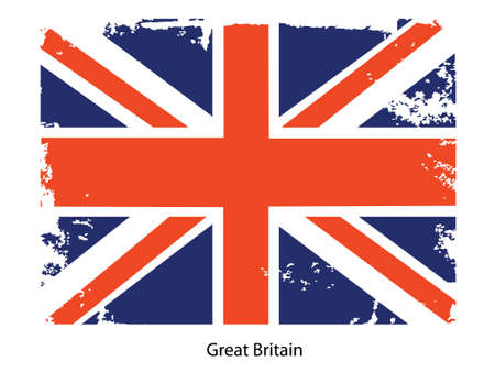 brit: Grunge illustration of the flag of the country. Fully editable vector image. Grunge flag is proportionately correct.