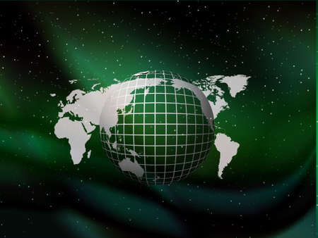 Green globe floating on the sky vector background with stars, illustration  Stock Illustration - 2201698