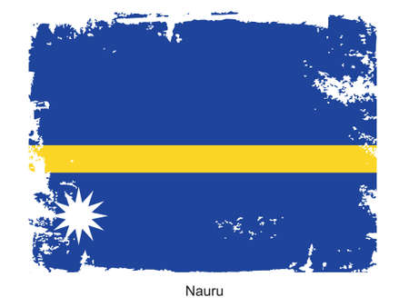 nauru: Grunge illustration of the flag of the country. Fully editable vector image. Grunge flag is proportionately correct.