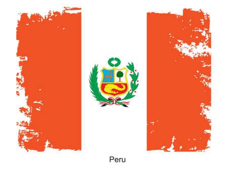 bandera peru: Grunge ilustraci�n de la bandera del pa�s. Completamente editable vector imagen. Grunge bandera es proporcionalmente correcta.