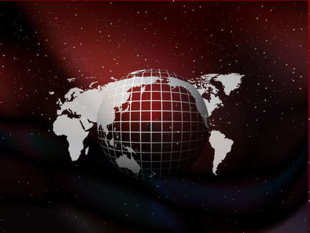 asymmetry: Red and black globe floating on the sky vector background with stars, illustration