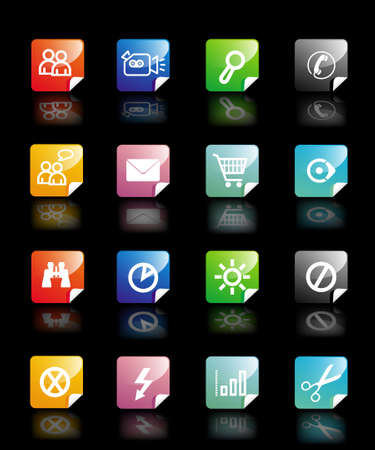 webmail: Set vector buttons in diffrent colors on black background with pictograms for web, wallpaper