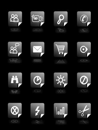 configuration: Set vector buttons on black background with pictograms for web, wallpaper