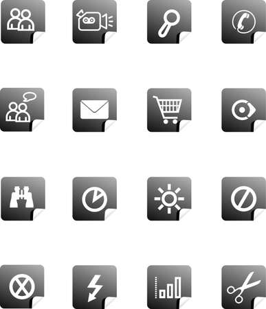 Set vector buttons on white background with pictograms for web, wallpaper  photo