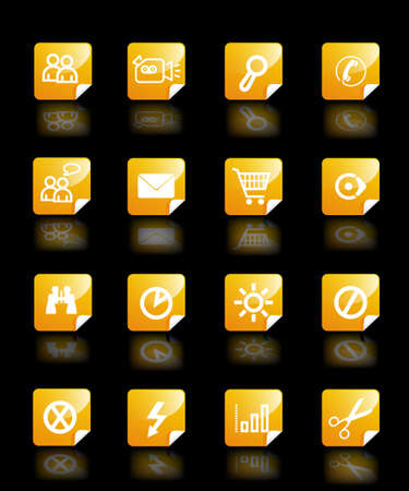 Set vector yellow buttons theme with pictograms for web, wallpaper  photo