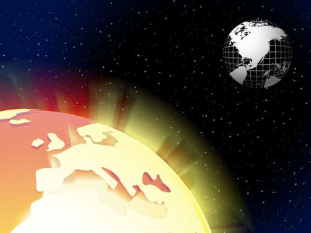 Two globe floating on the sky vector background with stars, wallpaper photo