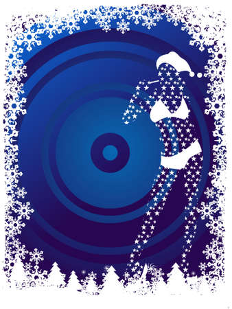 Abstract vector illustration of Christmas girl background in blue illustration