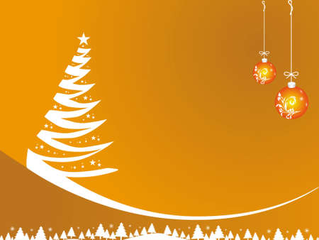 Abstract vector of yellow winter background with Christmas tree, illustration  illustration