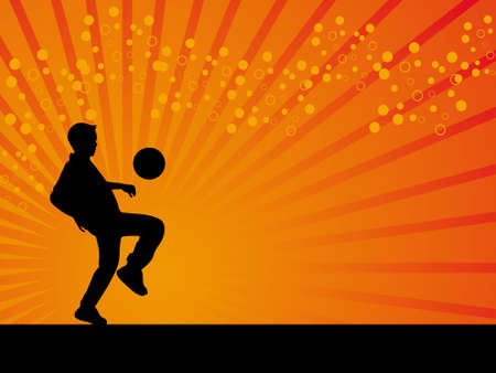 defender: Black defender footballer vector orange background illustration